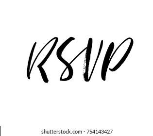 RSVP, wedding phrase. Ink illustration. Modern brush calligraphy. Isolated on white background.