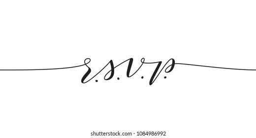 RSVP wedding vector card template. Isolated elegant modern calligraphy on white background. Great for wedding invitations, postcards.