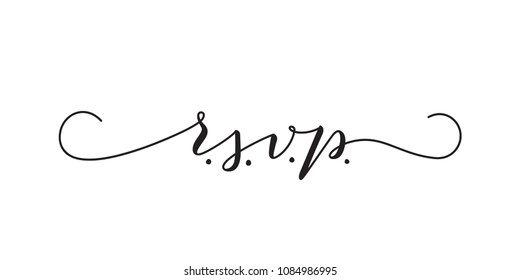 RSVP wedding vector card template. Isolated elegant modern calligraphy with swashes on white background. Great for wedding invitations, postcards.