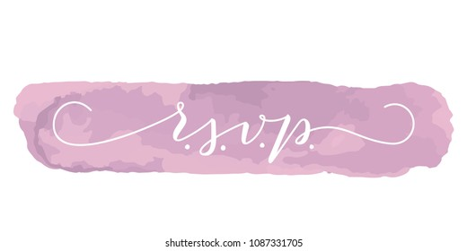 RSVP wedding vector card template. Elegant calligraphy with swashes on dusty rose isolated background. Great for wedding invitations, postcards.