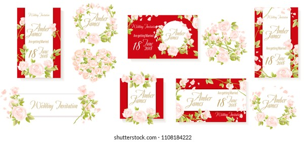 Rsvp wedding. White rose flowers red invitation set vector. Red wedding decor, card, banner, Heart of roses. Frame of flowers wreath. Rose petals.