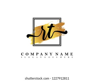 RT Initial handwriting logo concept