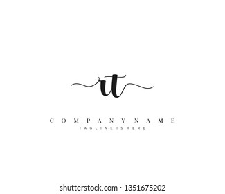 RT initial handwriting logo template with luxury color vector.