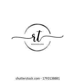 RT Initial handwriting logo vector