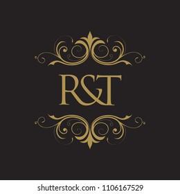RT Initial logo. Ornament ampersand monogram golden logo black background