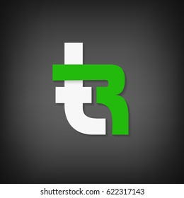 Rt letters gradient vector logo design