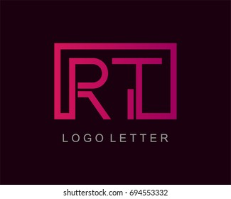 RT Logo letter design vector with box