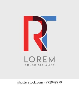 """RT logo letters with """"blue and red"""" gradation"""