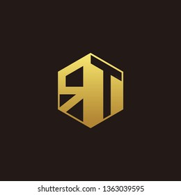 RT Logo Monogram with Negative space gold colors