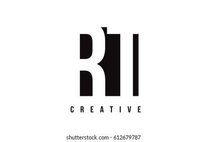 RT R T White Letter Logo Design with Black Square Vector Illustration Template.