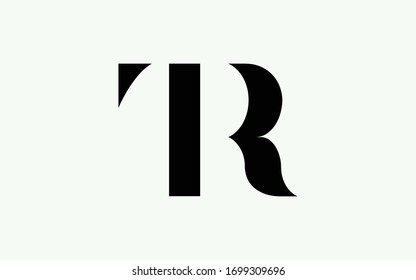RT or TR and T or R Uppercase Letter Initial Logo Design, Vector Template