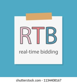 RTB (Real-time bidding) written in a notebook paper- vector illustration