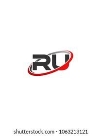 RU initial company red gray swoosh logo