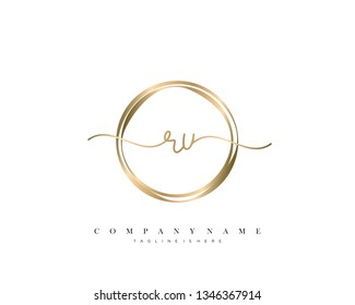 RU initial handwriting logo template vector