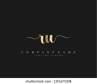 RU initial handwriting logo template with luxury color vector.