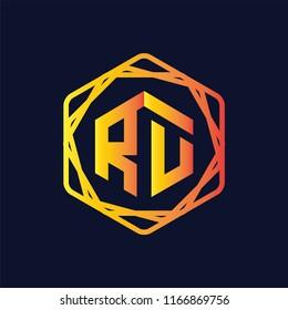 RU Initial letter hexagonal logo vector