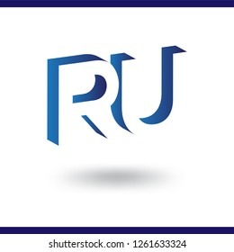 RU initial letter with negative space logo icon vector template