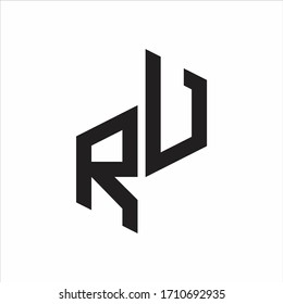 RU Initial Letters logo monogram with up to down style