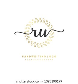 RU initial signature logo. handwriting logo template vector,