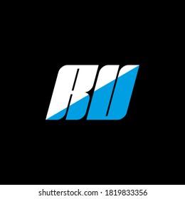 RU letter logo design on black background. RU creative initials letter logo concept. RU icon design. RU white and blue letter icon design on black background. R U