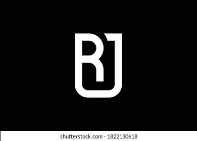 RU letter logo design on luxury background. UR monogram initials letter logo concept. RJ icon design. JR elegant and Professional white color letter icon design on black background. RJ JR RU UR