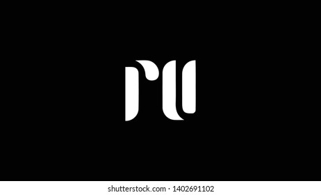 RU logo design template vector illustration minimal design