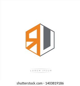 RU Logo Initial Monogram Negative Space Design Template With Grey and Orange Color - Vector EPS 10
