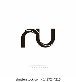 ru r u Initial Letter Split Lowercase Modern Monogram linked outline rounded logo