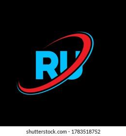 RU R U letter logo design. Initial letter RU linked circle uppercase monogram logo red and blue. RU logo, R U design. ru, r u