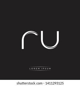 ru r u logo Initial Letter Split Lowercase Modern Isolated on Black White