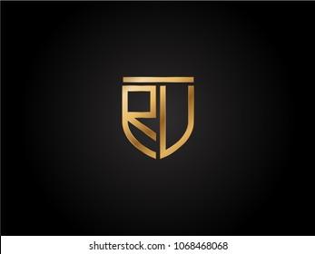 RU shield shape Letter Design in gold color
