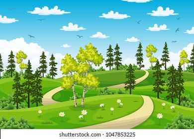 Rual summer landscape with trees