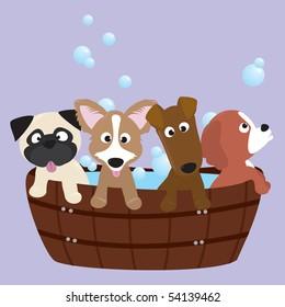rub-a-dub-dub, 4 pups in a tub