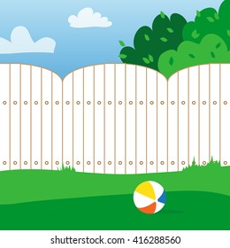 Rubber ball and grass field. House backyard. Playing ball inside the fence. Vector  illustrations.