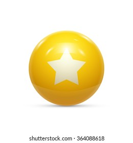 Rubber Ball with Star isolated. Vector illustration