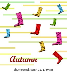 rubber boots autumnal vector background