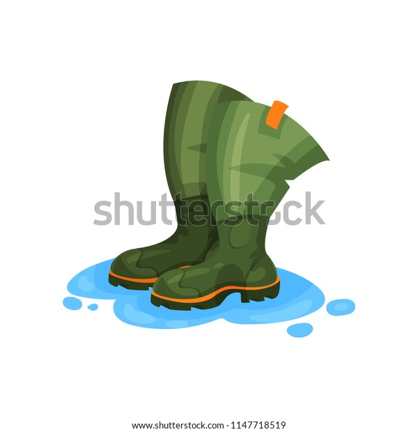 Rubber boots of fisherman, outdoor traveling element vector Illustration on a white background