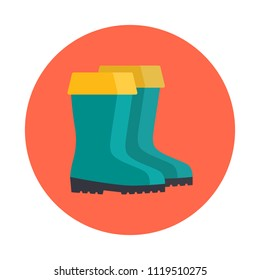Rubber boots flat icon isolated on orange background. Simple  Rubber boots symbol in flat style. Fishing symbol Vector illustration for web and mobile design.