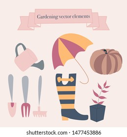 Rubber boots, flowers and gardening icons. Vector elements, that can be used on the web, or in print, for surface design