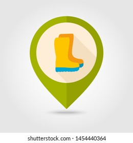 Rubber boots, gumboots, wellies flat vector pin map icon. Map pointer. Map markers. Garden, eps 10