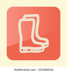 Rubber boots, gumboots, wellies flat icon. Garden sign. Graph symbol for your web site design, logo, app, UI. Vector illustration, EPS10.