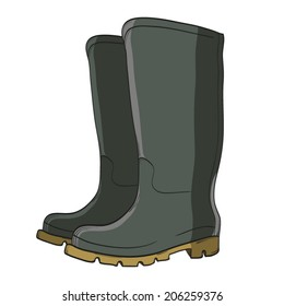 rubber boots isolated on white, hand drawn, vector illustration