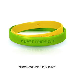Rubber bracelets for best friends: yellow and green. Friendship Day, happy holiday of amity. Two silicone wristbands on white background. Vector illustration