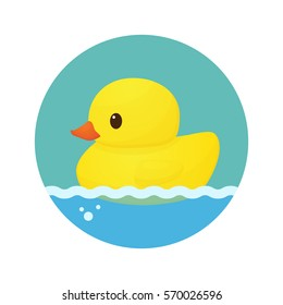 Rubber duck bath icon vector