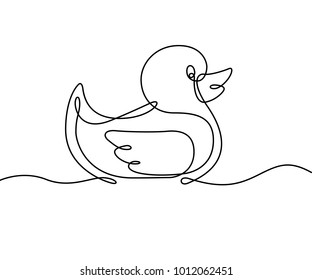 Rubber Duck One Single Continuous Line Vector Graphic Illustration