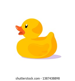 Rubber duck vector illustration. Yellow rubber duck children toy isolated on white background. Flat design.