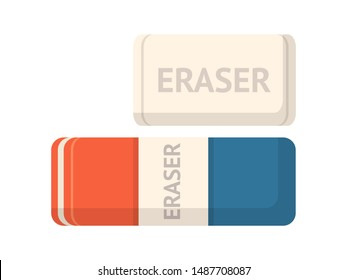 Rubber erasers top view flat vector illustration. School supply store items, stationery items shop product. Writing error, drawing mistake correction tools. Office equipment, school education symbol