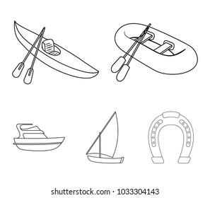 A rubber fishing boat, a kayak with oars, a fishing schooner, a motor yacht.Ships and water transport set collection icons in monocrome style vector symbol stock illustration web.