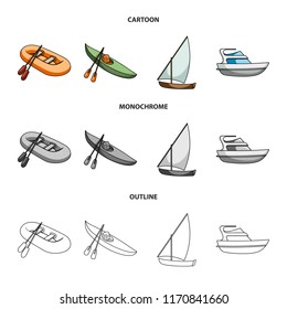 A rubber fishing boat, a kayak with oars, a fishing schooner, a motor yacht.Ships and water transport set collection icons in cartoon,outline,monochrome style vector symbol stock illustration web.