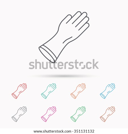 Rubber Gloves Icon Latex Hand Protection Stock Vector